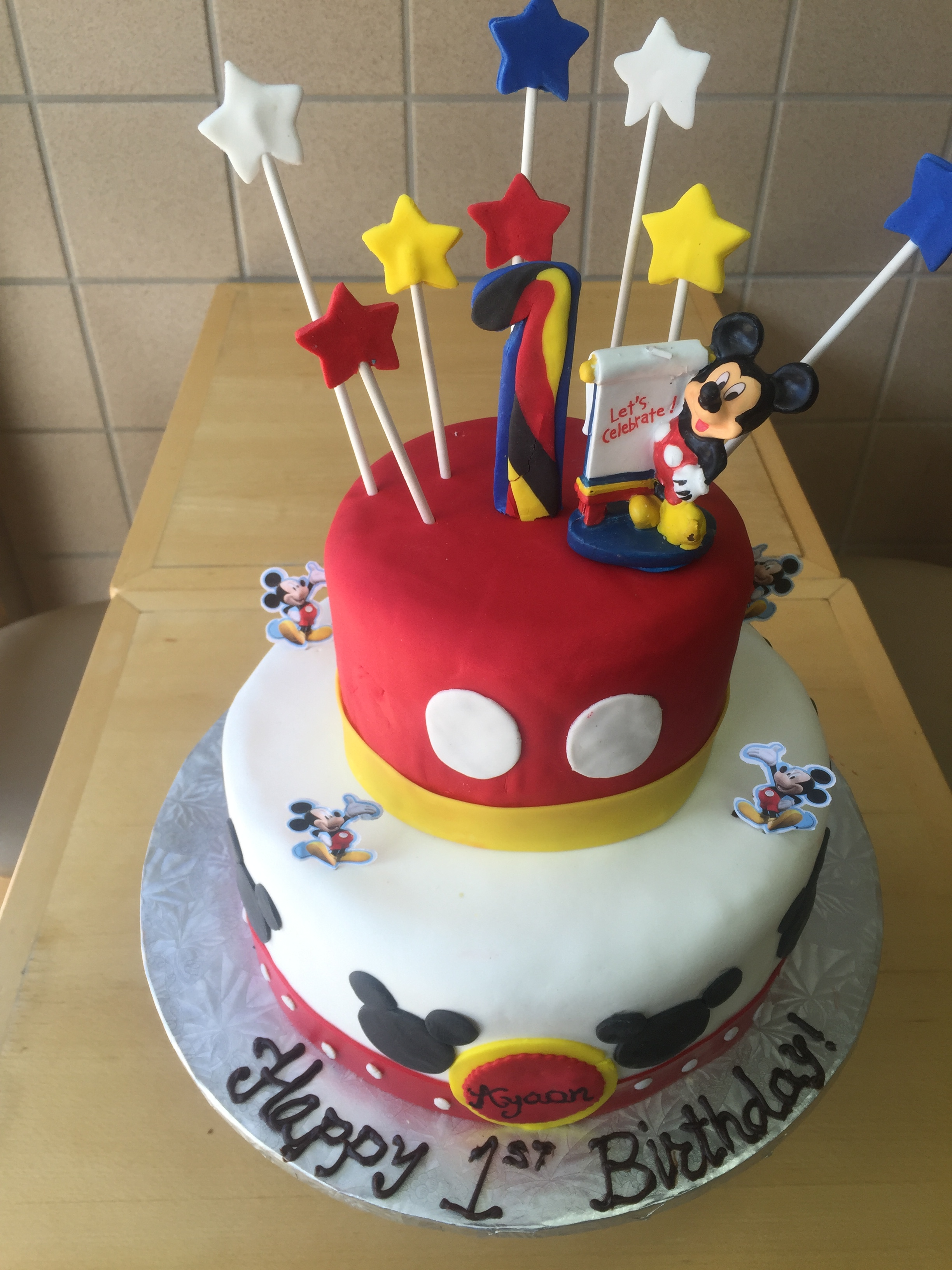 Mickey Mouse First Birthday Stack Cake Wild Berries Bakery And Cafe