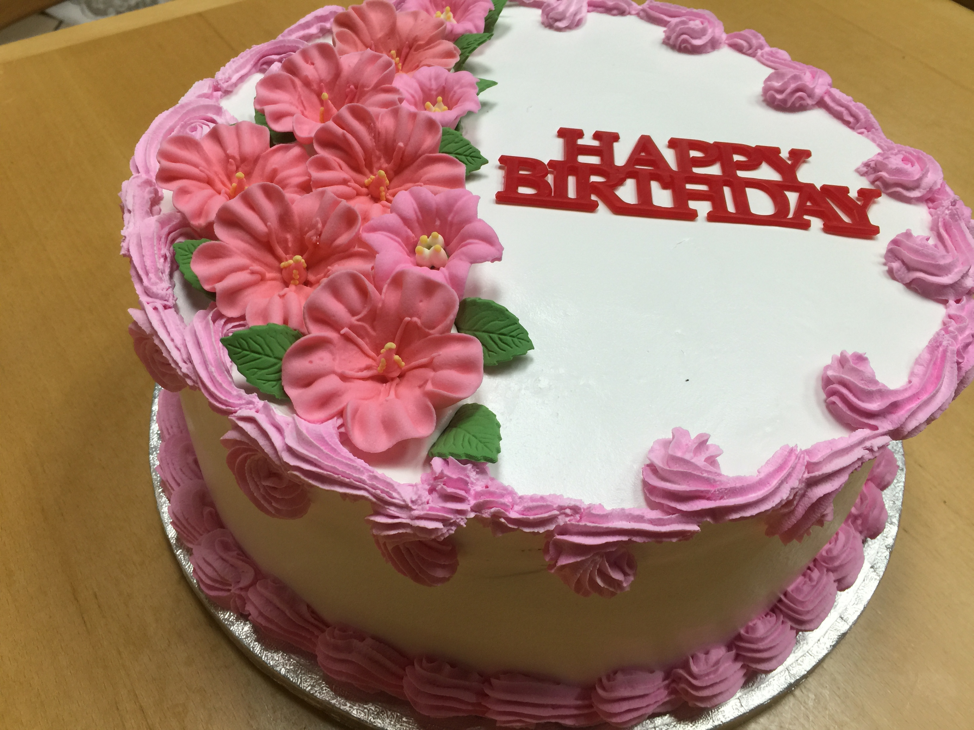 Swell Pink Roses Birthday Cake Wild Berries Bakery And Cafe Funny Birthday Cards Online Alyptdamsfinfo