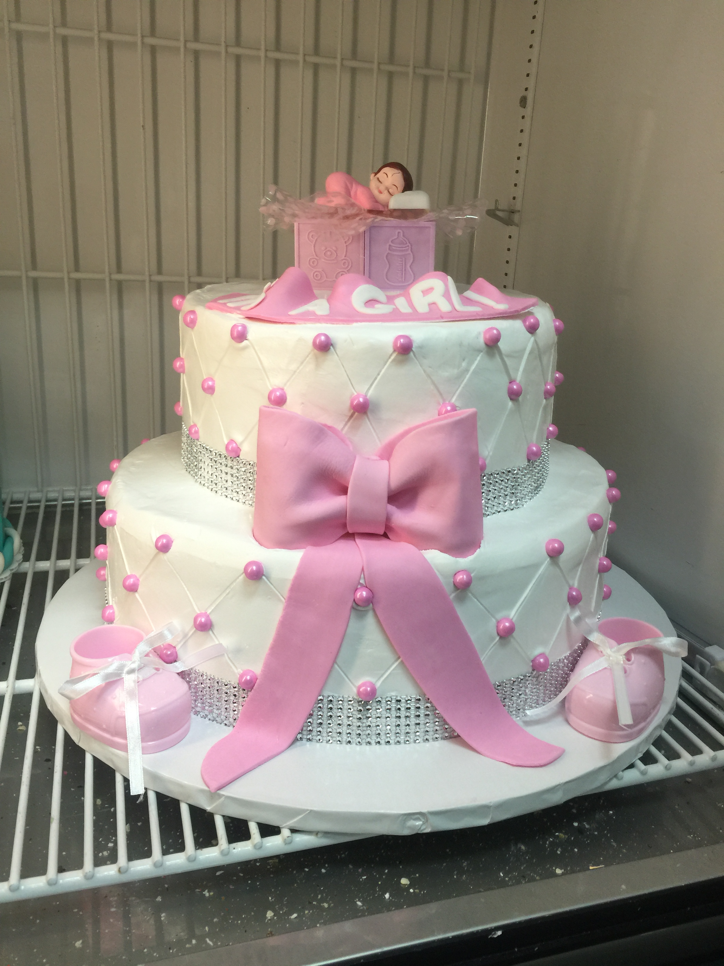 Two Tiered Pink Baby Shower Cake