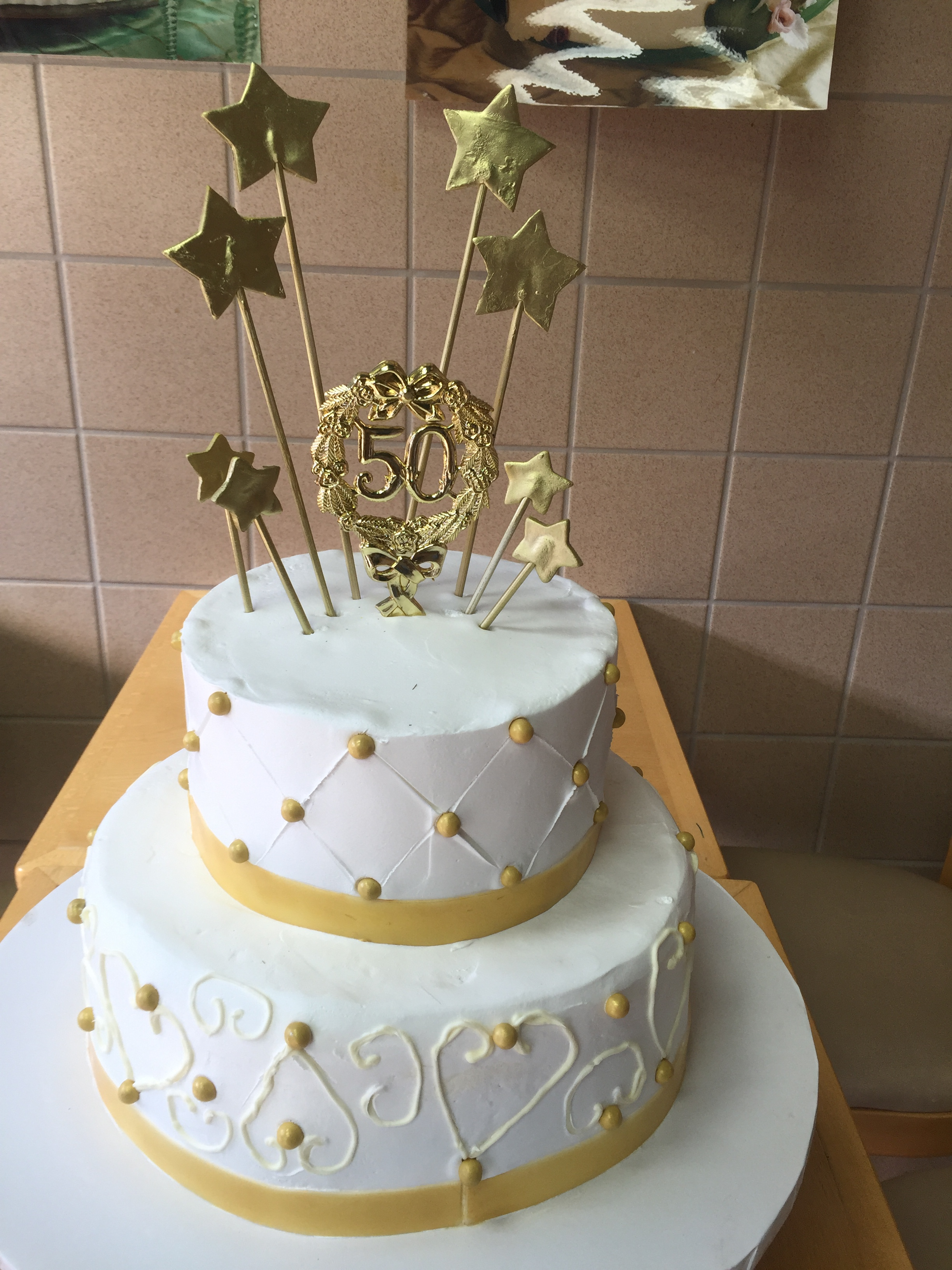 Two Tier 50th Birthday Cake