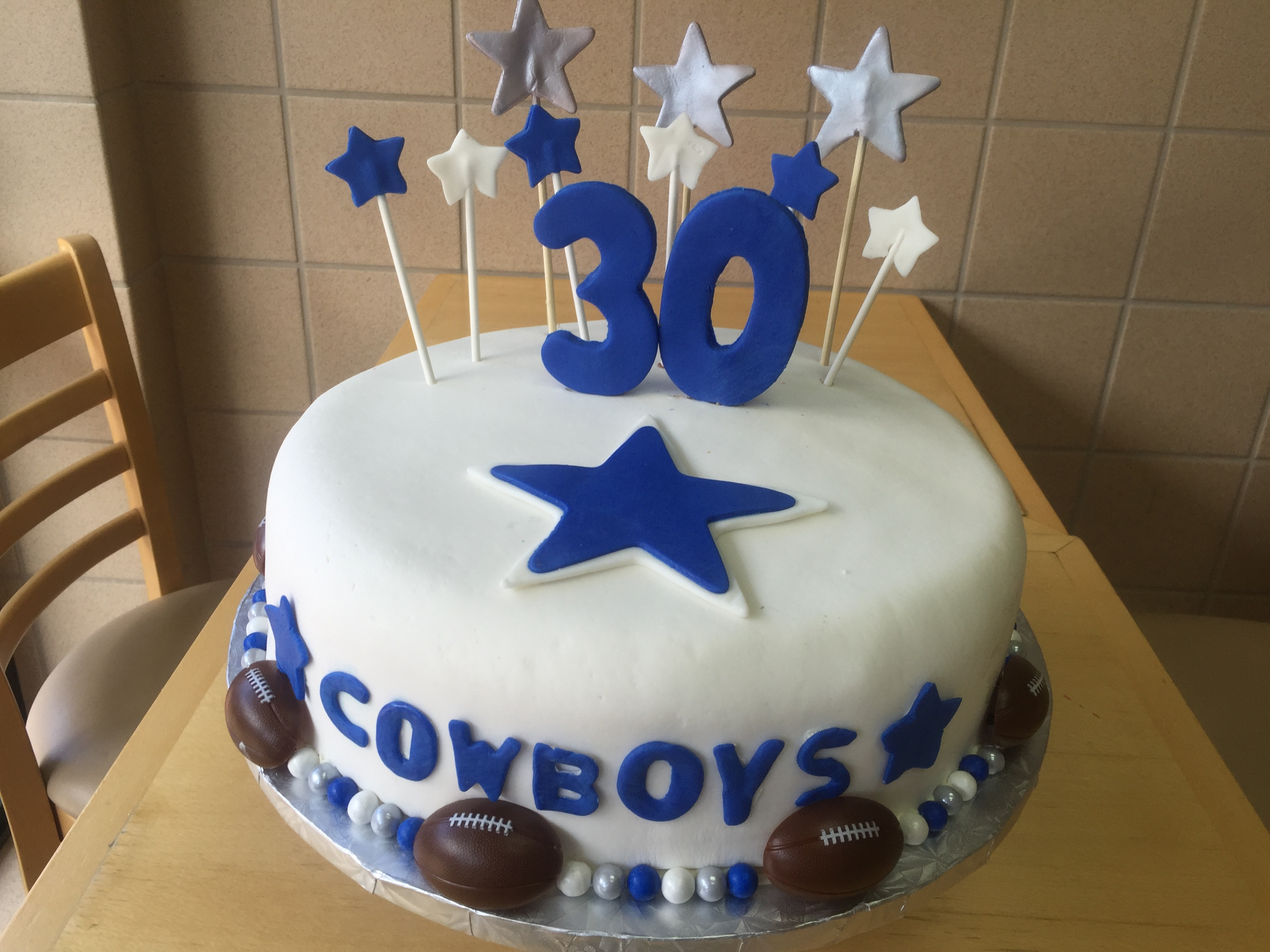 Dallas Cowboysthemed 30th Birthday Cake Wild Berries Bakery and Cafe