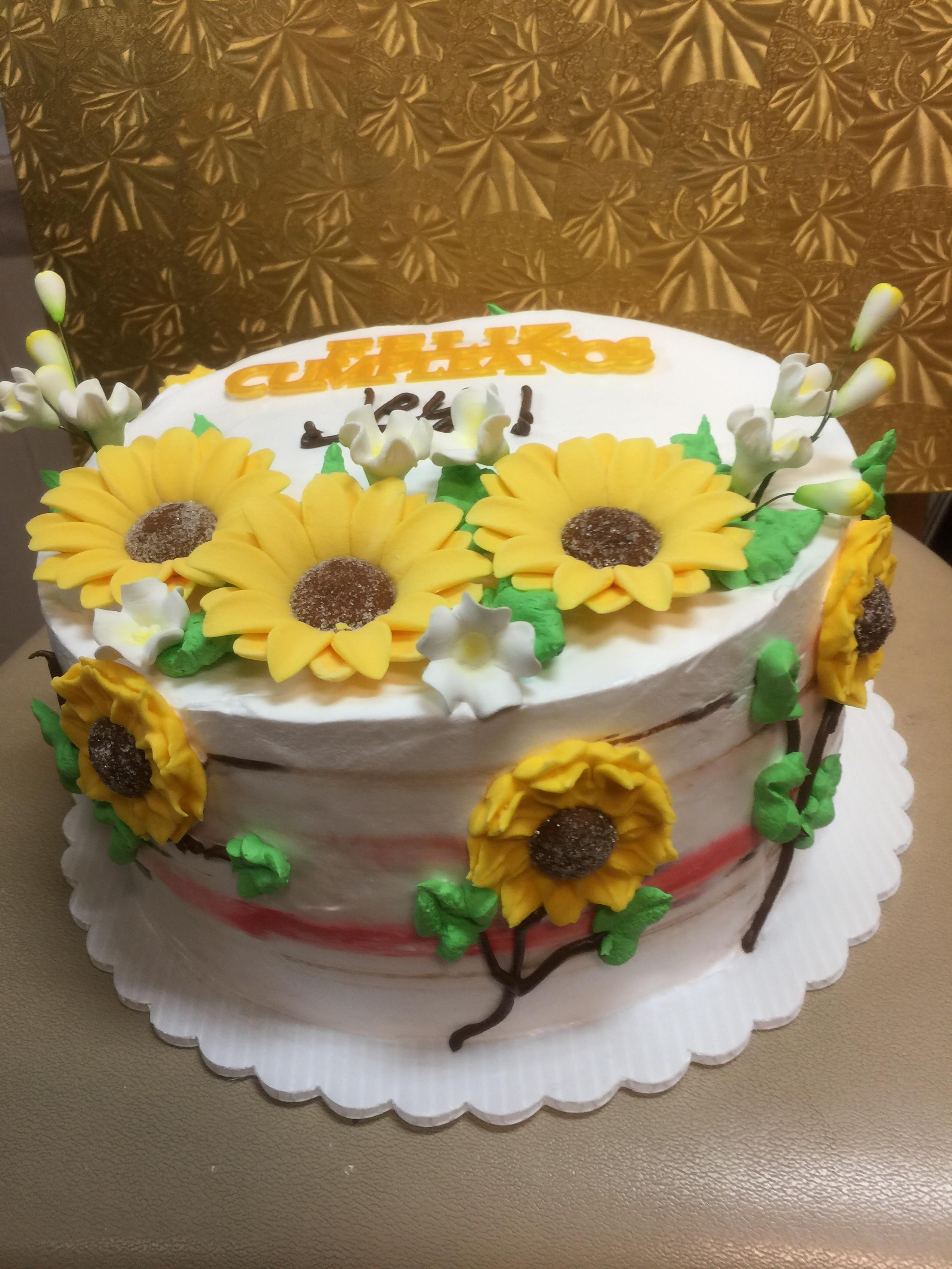 Miraculous Sunflowers Theme Birthday Cake Wild Berries Bakery And Cafe Funny Birthday Cards Online Necthendildamsfinfo
