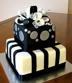 Black And White Mens 30th Birthday Cake