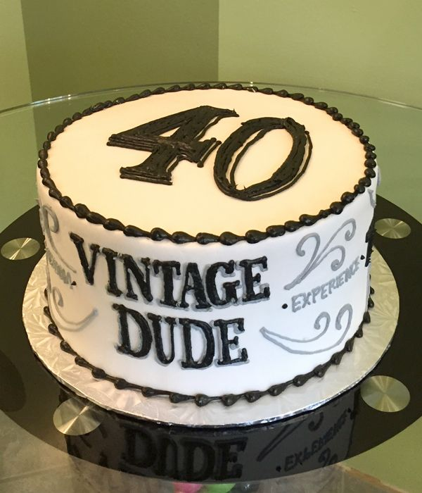 Vintage Dude 40th Birthday Cake
