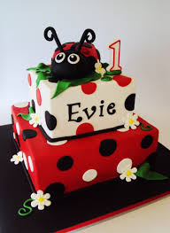 Peachy Ladybug Theme 1St Birthday Cake Wild Berries Bakery And Cafe Personalised Birthday Cards Sponlily Jamesorg
