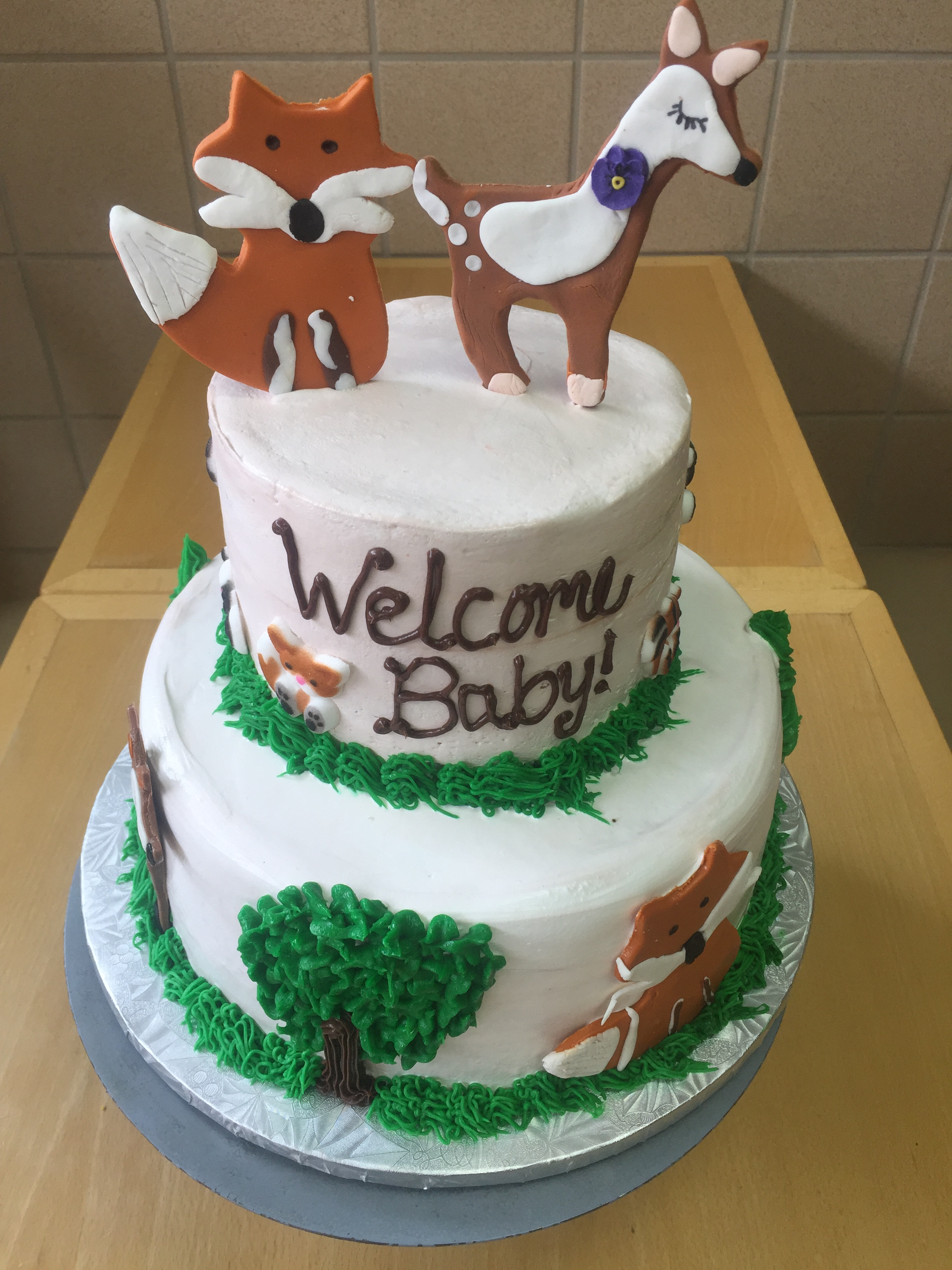 Woodland Animal Baby Shower Cake Wild Berries Bakery And Cafe